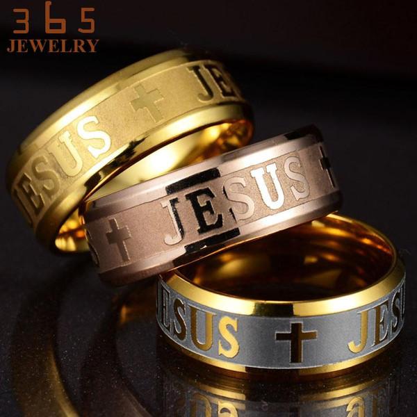 Europa Classic gioielli in acciaio inox Lettera Bibbia Anelli Nero argento oro rosa banda Gesù Croce Anello per gli uomini Le donne di preghiera