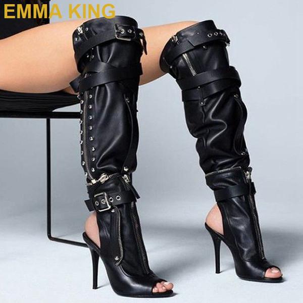 2019 Black Leather High Boots Peep Toe Stiletto Thin High Heels Women Knee Boots Fashion Zip Buckle Detachable Knee