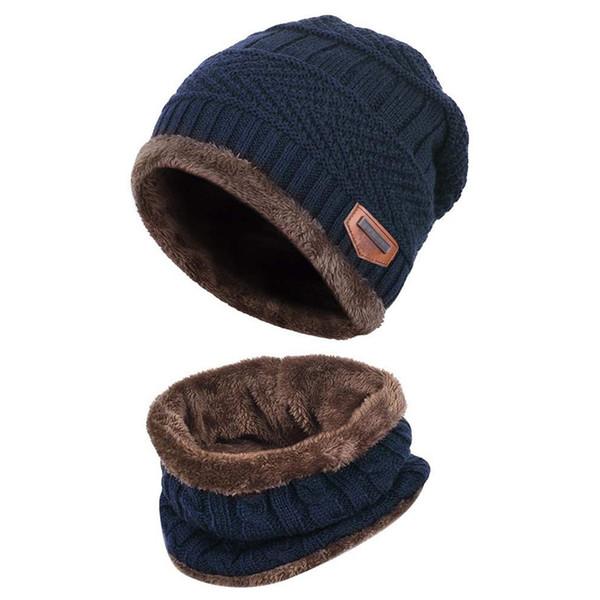 Örme Kayak Beanies için Kadın Erkek Çocuk Kış Şapka Sıcak Kalın Beanie Cap Eşarp 2 adet Seti