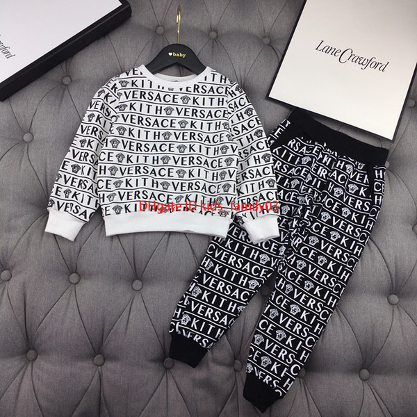 Boy trousers sets kids designer clothing long sleeve round neck pullover + casual pants 2pcs autumn covered letter pattern design sets2019