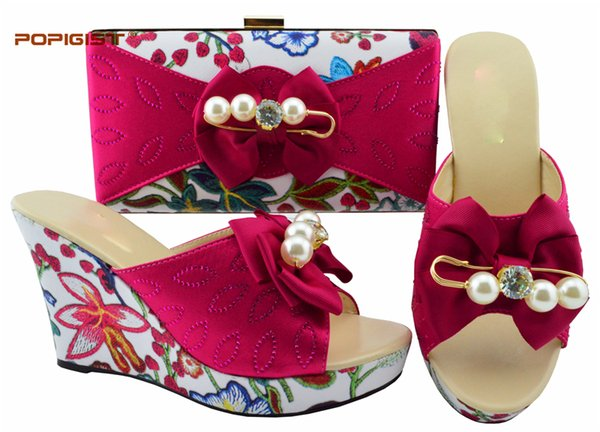 Italian Design In Women Nigerian Party Shoes And Bag Set Women Shoes And Bag Set Italy Wedges Ladies Summer Flower Shoes