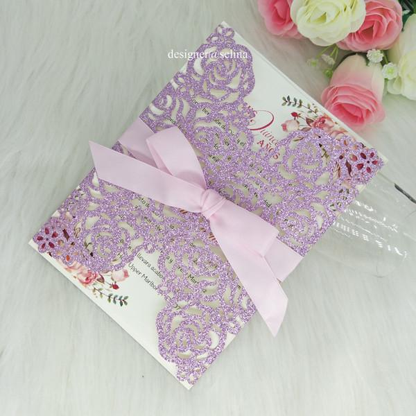 Compre Brillo Púrpura Del Corte Del Laser De Boda Invitaciones De Bricolaje Para La Impresión De Quinceanera Dulce 15 Cumpleaños Graduación Tarjetas