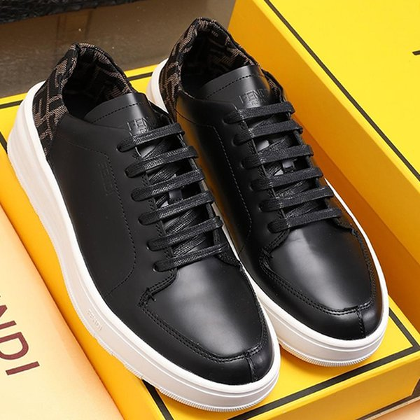 Top Quality Mens Shoes Fashion Breathable Sneakers Black Leather Low-Tops Design Luxury Leather Big Size Lace-Up Scarpe da uomo Fast Ship