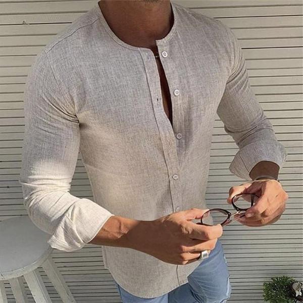 Men's Shirt 2019 Fashion Men Personality Tops Casual Shirts Slim Long Sleeve Shirt Men Solid Shirts Top Blouse