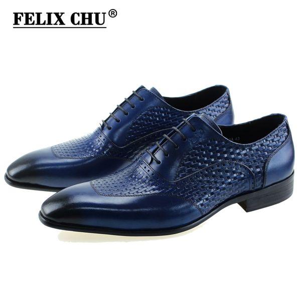 FELIX CHU Luxury Italian Genuine Cow Leather Men Blue Black Wedding Oxford Shoes Lace-Up Office Suit Men's Dress Shoe #D560-20A #56237