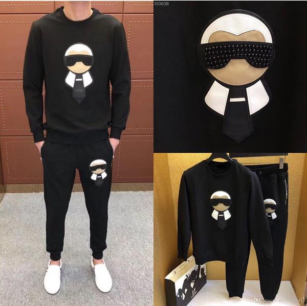 2019 Новый мужской моды печати хлопка с длинным рукавом Пуловер Jogger костюмы куртки Брюки мужские наборы конструктора костюм спортивный костюм плюс размер M-4XL
