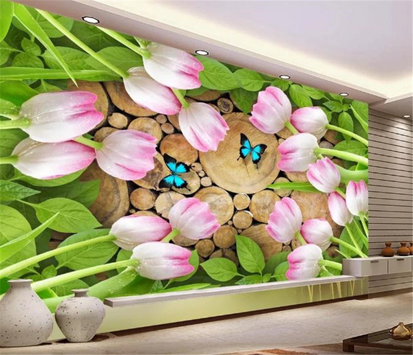 Paris Wall Mural Tulip Natural Wood Flowers Creative Stumps 3d Wallpaper Digital Printing Hd Decorative Wall Paper Beautiful Wallpaper Widescreen