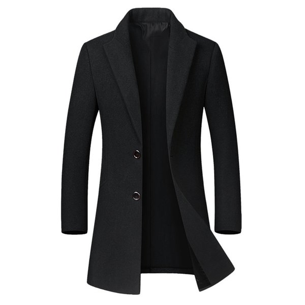 Autumn Winter Wool Jacket Men's High-quality casual Slim Fit Male Solid Medium-Long collar trench Overcoat Big Size M-4XL