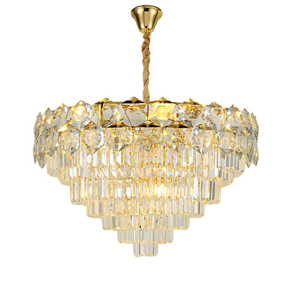 New contemporary round crystal chandelier light gold luxury pendant chandeliers lighting dinning bedroom led hanging lamps