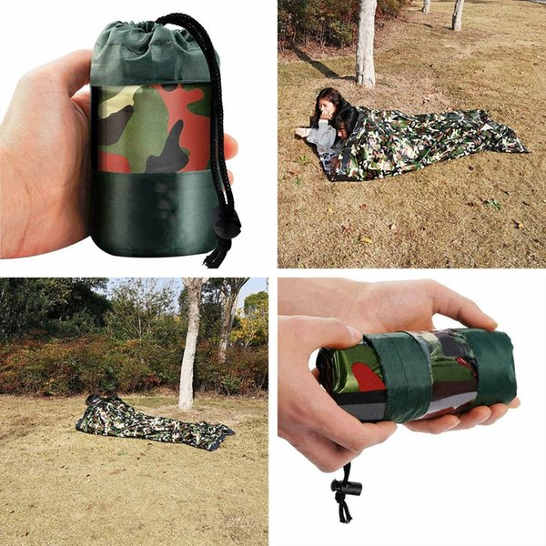 Camouflage Emergency Survival Sleeping Bag Emergency Blanket Lightweight and Compact Survival Gear for Outdoor Hiking Camping