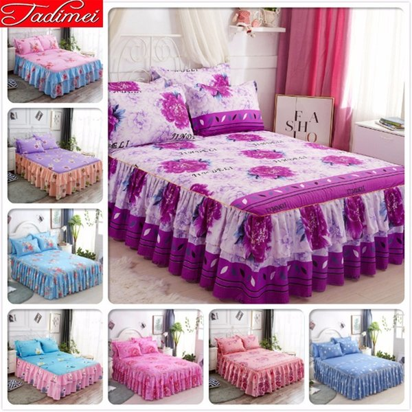 Adult Couple Child Girl Flower Bed Skirts With Lace Single Twin Queen King Size Bed Cover Linen Soft Cotton Bedspreads 150x200cm