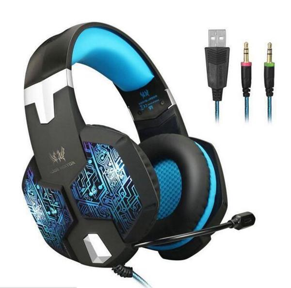 CHAQUE G1000 casque de jeu professionnel PS4 XBOX un casque avec micro basse basse respiration respiration LED Tablet PC 8pcs / lot