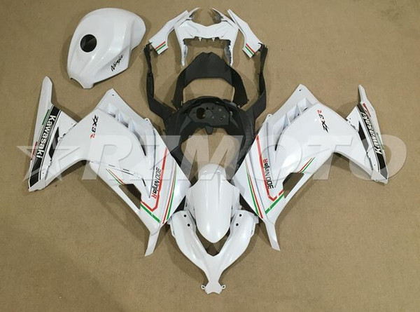 Calidad OEM Nuevo kit de carenados de motocicleta ABS apto para kawasaki Ninja 300 EX300 Ninja300 2013 2014 2015 13 14 15 agregar tapa del tanque blanco