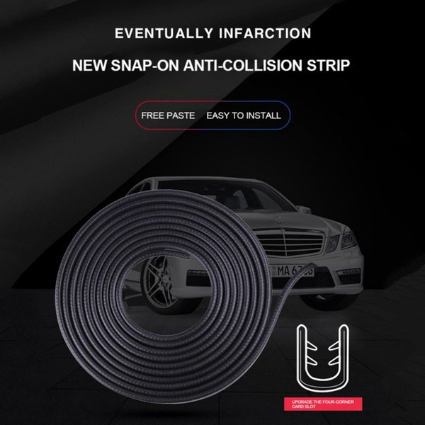 New 4× Black Car Door Anti-collision Strip Non-Scratch Protector Guard Universal