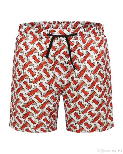 Tendência Shorts Mens Beach Shorts 2019 Verão Comprimento Do Joelho Board Designer de Marca Calças Curtas Cintura Elástica Respirável Shorts Listrados