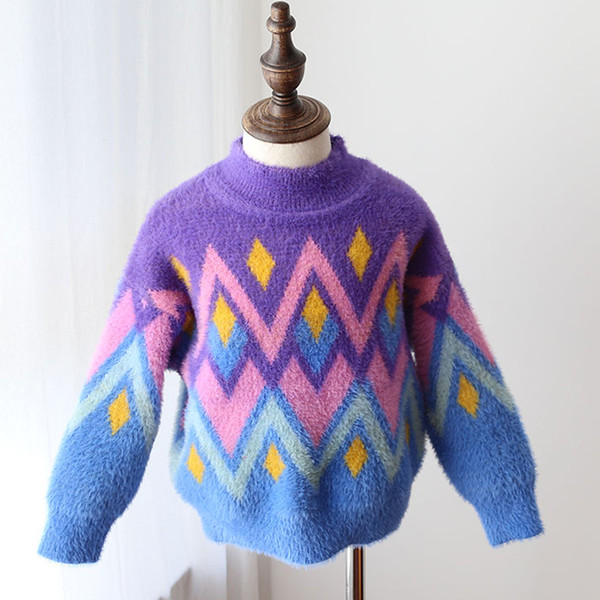 DZIECKO Fashion Fur Sweaters For Girls Children Knitted Pullovers O Neck Long Sleeves Christmas Outfit Girl Warm Winter Sweaters
