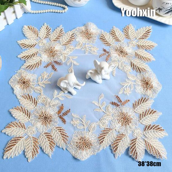 Modern mesh embroidery dish placemat cup mug coffee pan coaster kitchen dining table place mat lace doily wedding drink pad