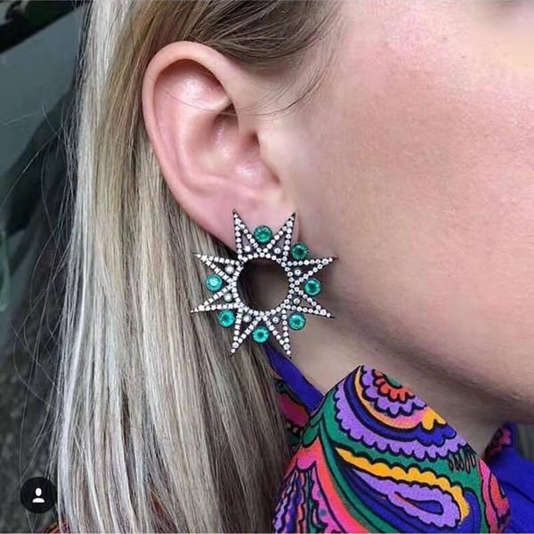 Восемь остроконечные звезды бриллиантовые серьги для женщин роскошный дизайнер мода женская зеленый драгоценный камень уха шпильки bling обледенелые ювелирные изделия подарки для gf