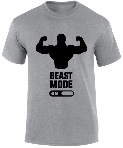 Beast Mode On Muscle Weight Biceps Gym Fitness Sport Crossfit Slogan Men T shirt jersey Print t-shirt