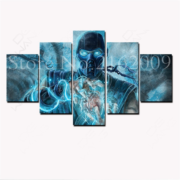 Juego Poster Mortal Kombat Sub Zero,5 Pieces HD Canvas Printing New Home Decoration Art Painting/Unframed/Framed