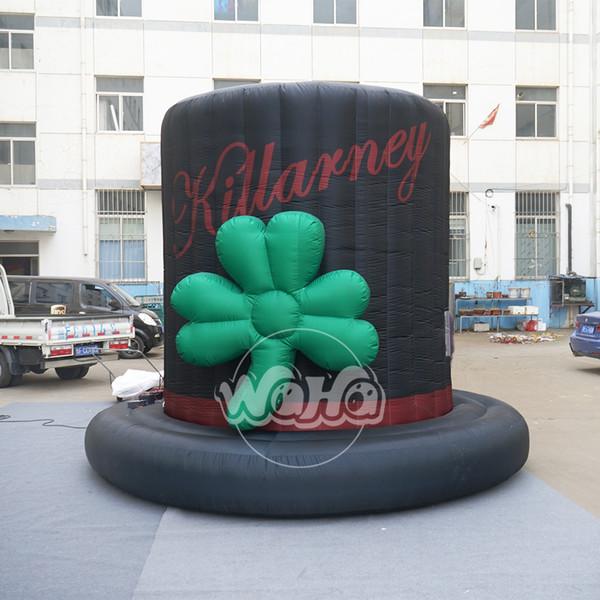 Modèle gonflable de chapeau noir extérieur mascotte de la publicité d'impression de tissu vif de publicité