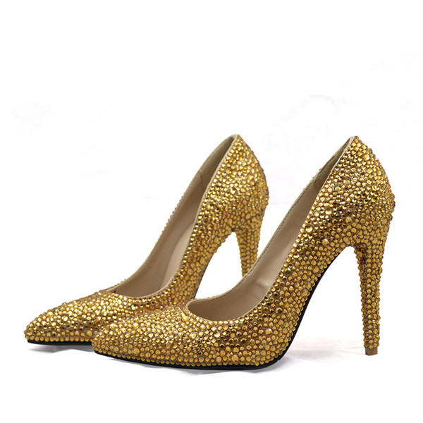 hot products newest collection vast selection Pointed Toe Women High Heels Wedding Party Prom Shoes Plus Size 12 13 Gold  Rhinestone Bridal Dress Shoes With Purse Evening Bag Shoes Uk Mens Chelsea  ...