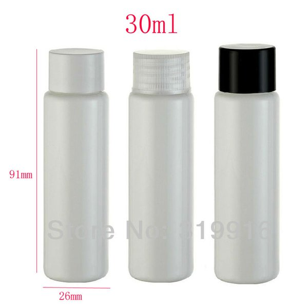 30ml X 100 white empty plastic travel bottles with screw caps ,30cc hotel personal care cosmetics bottle, 1oz cosmetic container