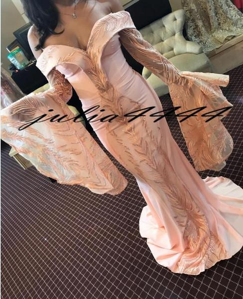 2019 Nuevos vestidos de noche de sirena de manga larga fuera del hombro con lentejuelas Apliques Beyonce Prom Vestidos de barrido de tren Poeta Vestido de alfombra roja formal