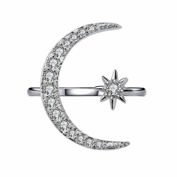 best selling Crystal Moon Ring Diamond Moon Star Rings Adjustable Engagement rins Fashion Jewelry for Women Will and Sandy Dropship 080444