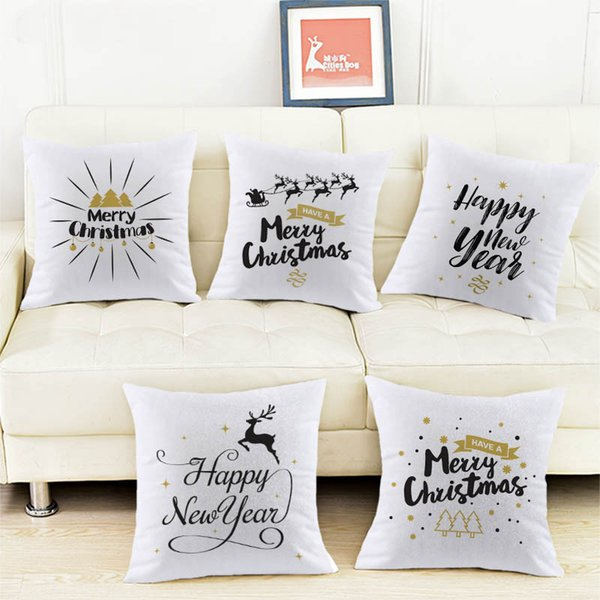 Christmas greetings letters white Velvet Fabric Pillow cushion cover Pillowcase Home sofa Decoration cushions Pillows covers