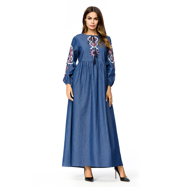 Wipalo Smocking Embroidery Denim Maxi Dress Women Long Sleeve O Neck  Vintage Robe Casual Spring Winter Party Dress Plus Size 4XL Womens Sun  Dress ...