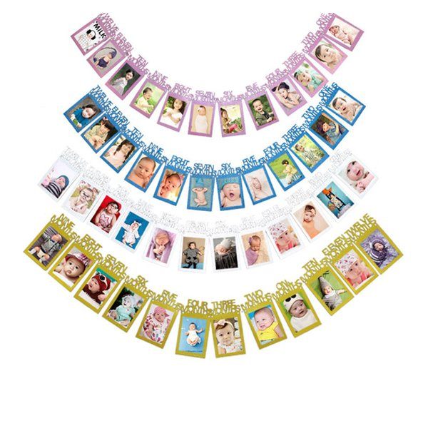 Happy Birthday Party Photo Banner Garland Wall Hanging Number Album Photo Props Bunting Garland Wedding Decoration Party Event Decor