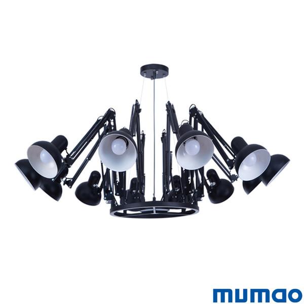 Araignée Noire Lustres Bras Rétractable Rétro Lustre Industriel Lampe Creative Bureau Vêtements Magasin Bar Pendent Lumières Éclairage