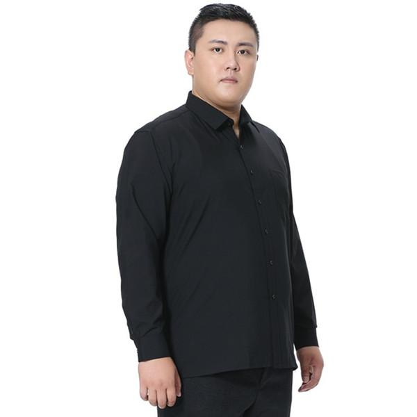 New Design Big Size Pure Color 5XL 6XL 7XL 8XL Business Formal Social Dress Shirts Men Fashion Long Sleeve Black White Purple #483865