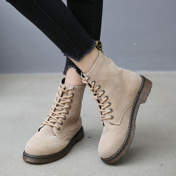 Vintage Women Lace Up Ankle Boots 2019 Autumn Winter Flock High-top Shoes Woman Platform Black Beige Zapatos De Mujer