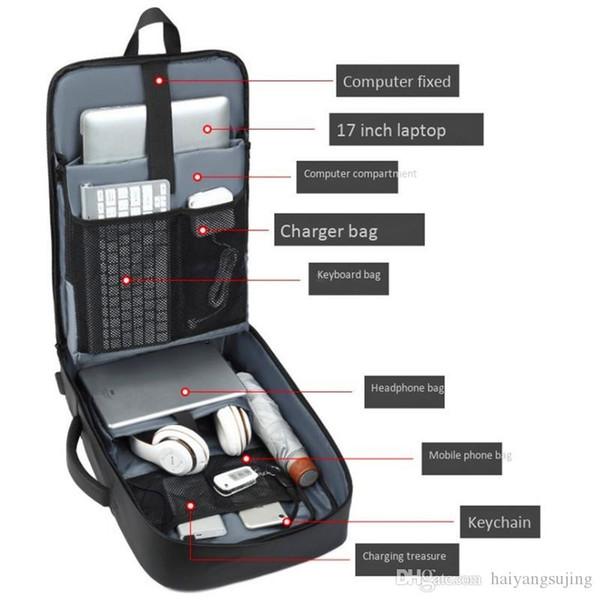 Профессиональные Мужчины Бизнес Рюкзак TraveSl Сумка Водонепроницаемого Тонкий Laptop мешок школа Офис Бизнес 15 17 дюймовых компьютер рюкзаки сумки USB