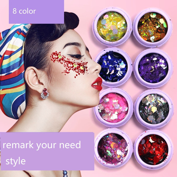 best selling Holographic Sequins Glitter Shimmer Loose Powder Pigment Tattoo Glitter Makeup Body Glitter Festival Make Up Eye Shadow JXW177