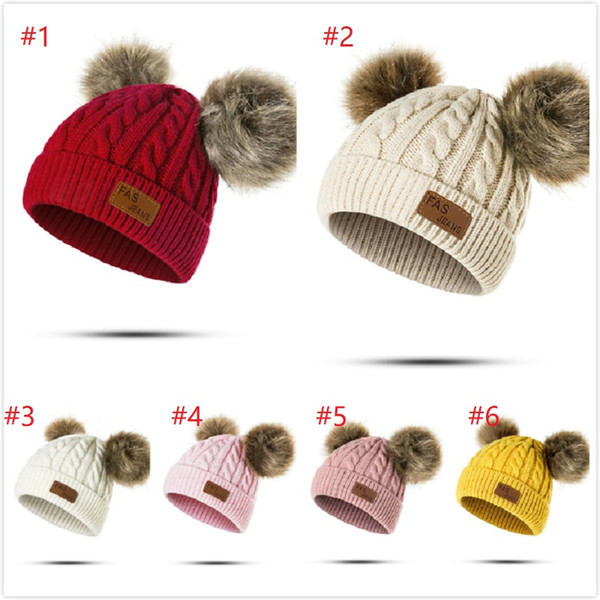 top popular 30pcs New Winter Hat Boys Girls Knitted Beanies Thick Baby Cute Hair Ball Cap Infant Toddler Warm Cap Boy Girl Pom Poms Warm Hat 2020