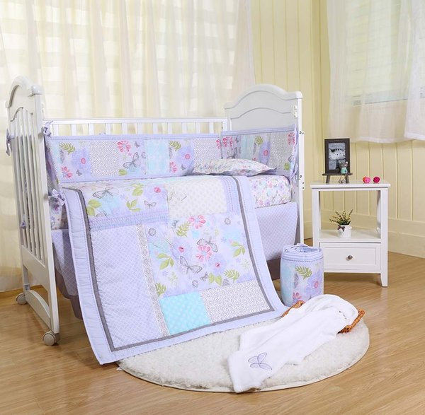 High Quality Baby Quilt Bumper Crib bedding set for infant girl 7Pcs Crib bedding set Cotton Cot bedding set Embroidered flowers butterfly