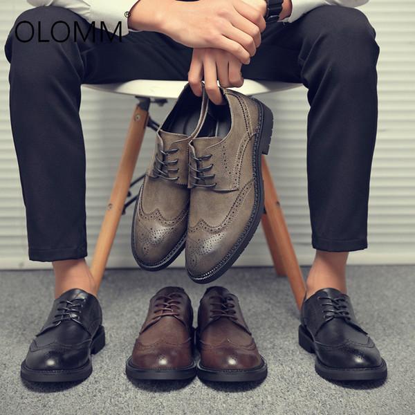 2019 New Bullock Mens Shoes Large Size Breathable Leather Shoes Mens Dress Zapatos De Hombre Leather