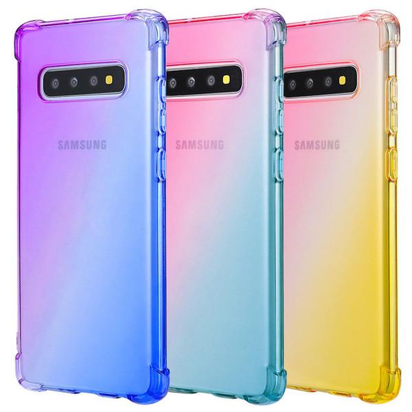 Градиент телефон дела цвета TPU для Samsung S10 S10e S9Note9 Note10 iPhone 11 Pro X Xr Xs Max 8 плюс iPhone11 HUAWEI Case
