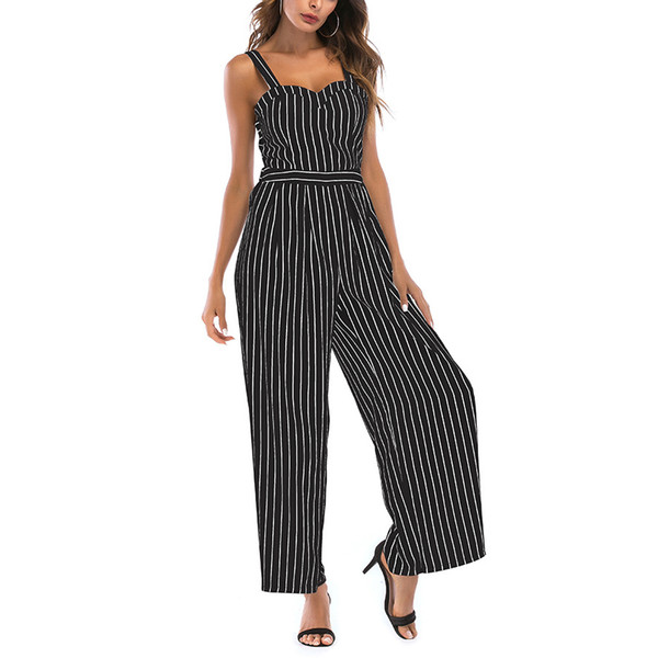 New Arrival Sexy Jumpsuits Women Casual Stripe Strap Sleeveless linen Rompers Backless Bow Tie Elegant Overalls Feminino MT2890