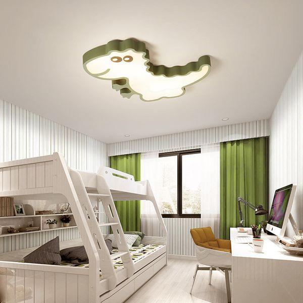 Plafoniere per bambini Camera da letto dinosauro Cartoon Ragazzi Ragazze Plafoniera Lampada da soffitto moderna a LED verde bianco per bambini