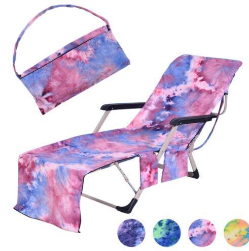 Microfiber Beach Towels Pool Sun Lounge Chair Cover Bath Towel Bag Sunbath Lounger Chair Mat With Large Pocket 75*210cm KKA6658