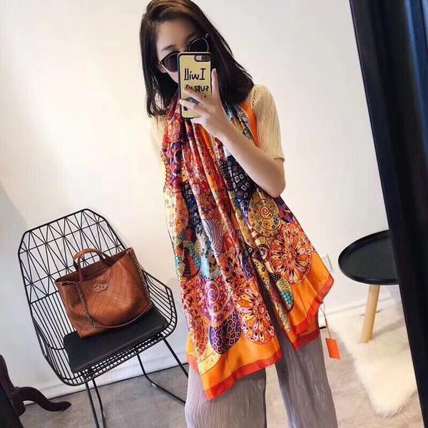 Marka lüks ipek eşarp 2018 Yeni Tasarımcı kadın marka renkli şal eşarp moda uzun halka Noel hediyesi toptan A16