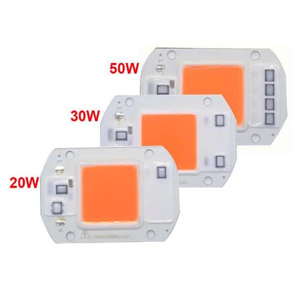 LED puce à spectre complet COB 20W 30W 50W AC220V / 110V entrée directement plante pousse module d'éclairage de lampe Projecteur à LED 380-840nm aucun 5pcs conducteur du besoin