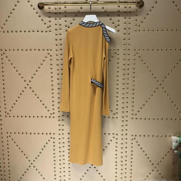2019 Robe Camel Longue Pour Femmes Longue Sur l'épaule À Manches Longues Robes Femmes Milan Piste Robes 172829