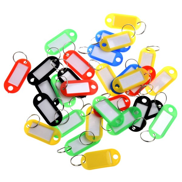 Colored Plastic Key Fobs Luggage ID Tags Labels Key rings with Name Cards For Many Uses 120pcs/set