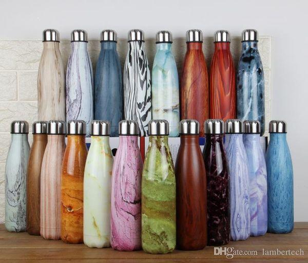 500 ML Ahşap Su Şişesi Yaratıcı Çift Duvar 304 Paslanmaz Çelik Yalıtımlı Vakum Şişe Kahve Kola Bardağı Süt Şişesi Drinkware