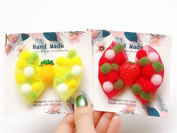 Boutique ins 20pcs Fashion Cute Glitter Heart Bow Hairpins Solid Color Pom Pom Ball Cartoon Bowknot Hair Clips Princess Headwear